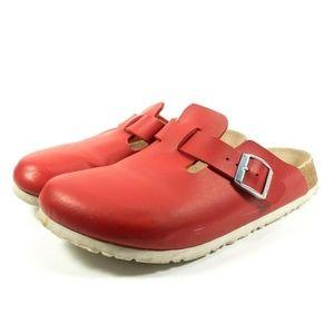 Birkenstock Birkis Boston Red Mule Clogs Sandals